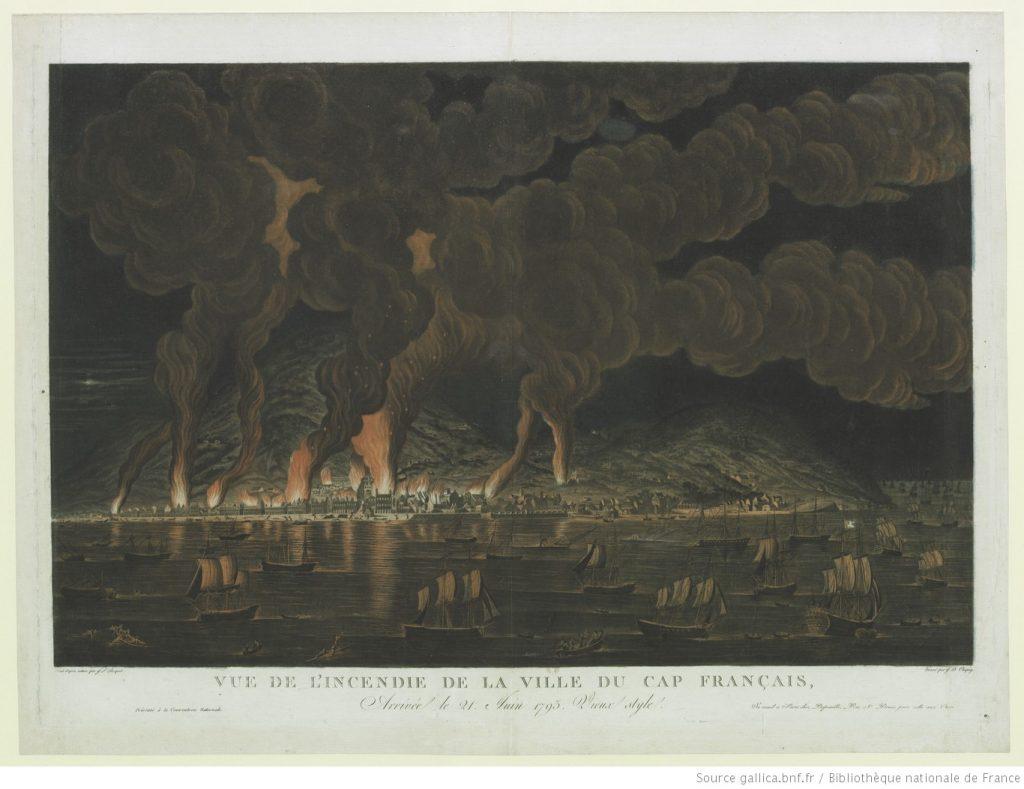View of the Burning of Cap-Français, by J.L. Boquet, 1794. Bibliothèque nationale de France.